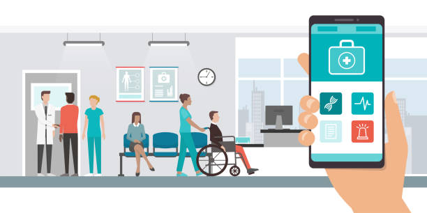 illustrazioni stock, clip art, cartoni animati e icone di tendenza di medical app and patients at the hospital - paziente