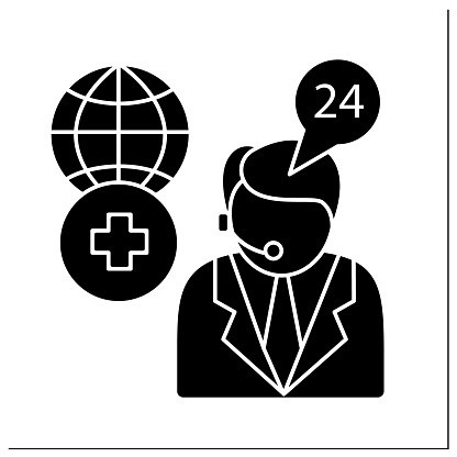 Medical assistance glyph icon