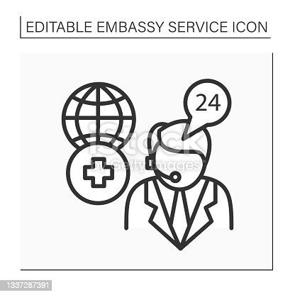 istock Medical assistance line icon 1337287391