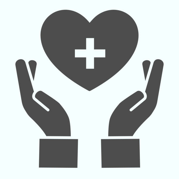 Medical assistance solid icon. Hands holding heart with medical cross vector illustration isolated on white. Caring hand glyph style design, designed for web and app. Eps 10. Medical assistance solid icon. Hands holding heart with medical cross vector illustration isolated on white. Caring hand glyph style design, designed for web and app. Eps 10 human limb stock illustrations