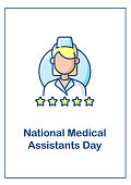 istock Medical assisting profession recognition day greeting card with color icon element 1331424022
