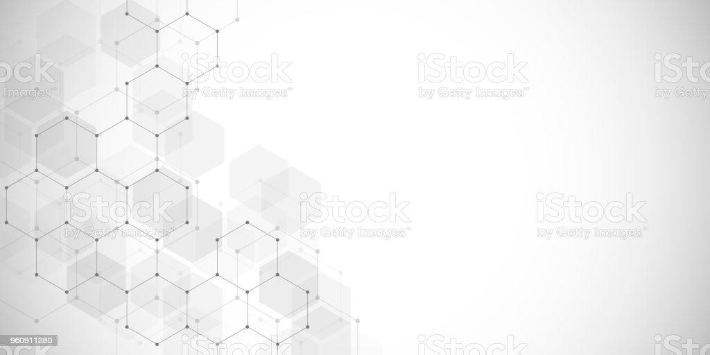 医療の背景や科学ベクター デザイン。化学化合物の分子構造とします。幾何学的な多角形の抽象的な背景 ベクターアートイラスト