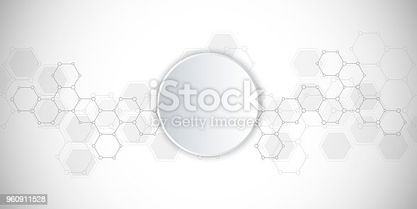 Medical background or science vector design. Molecular structure and chemical compounds. Geometric and polygonal abstract background