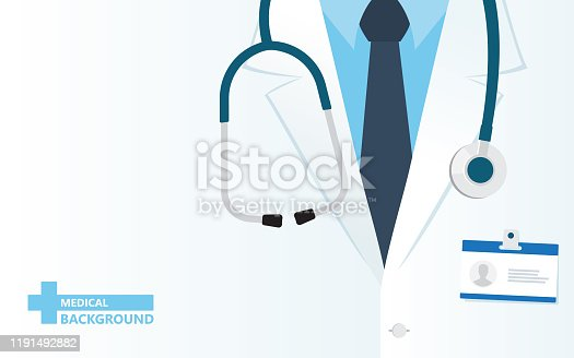 istock Medical background with close up of doctor with stethoscope. 1191492882