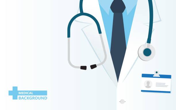 bildbanksillustrationer, clip art samt tecknat material och ikoner med medicinsk bakgrund med närbild av läkare med stetoskop. - allmänläkare