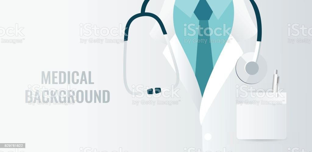 Medical background with close up of doctor with stethoscope. vector art illustration