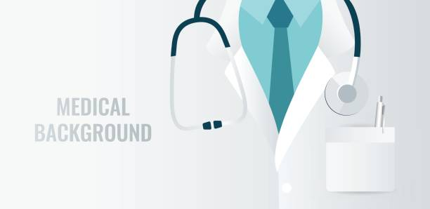 medical background with close up of doctor with stethoscope. - physician stock illustrations, clip art, cartoons, & icons