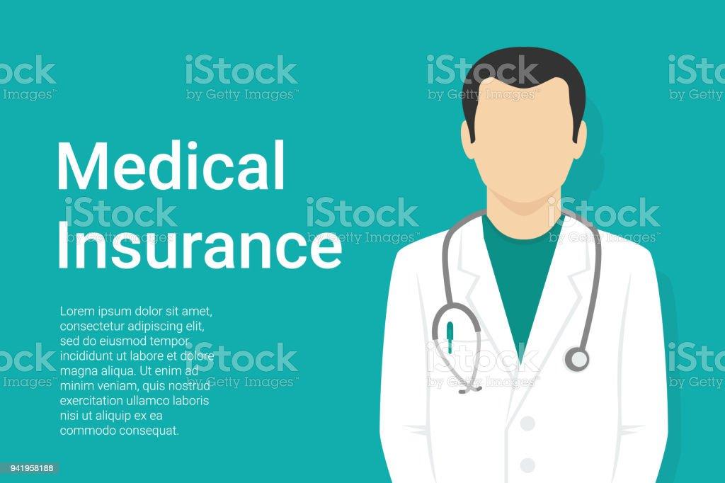 Medical background with flat doctor wearing uniform vector art illustration