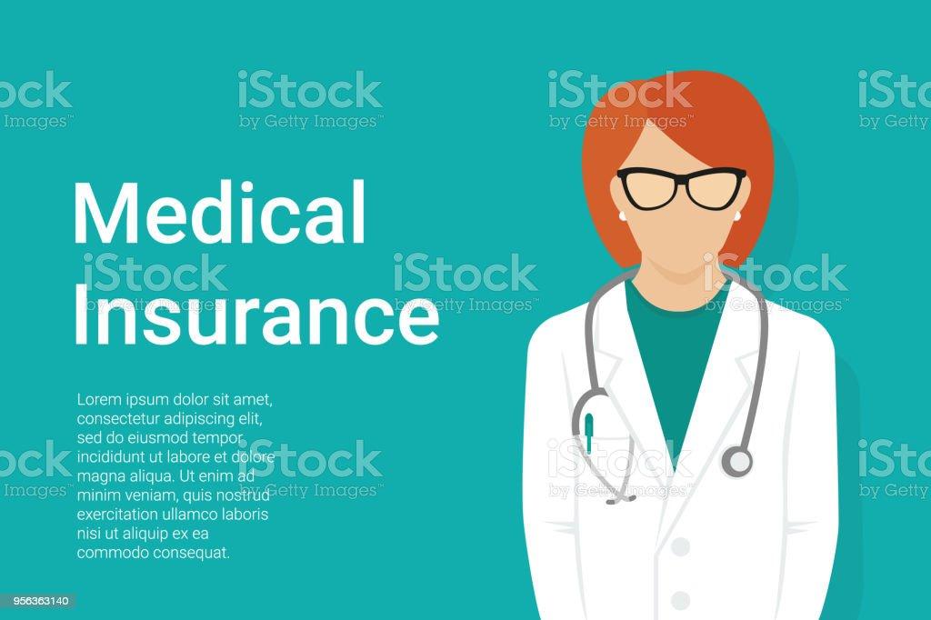 Medical background with flat female doctor wearing uniform vector art illustration