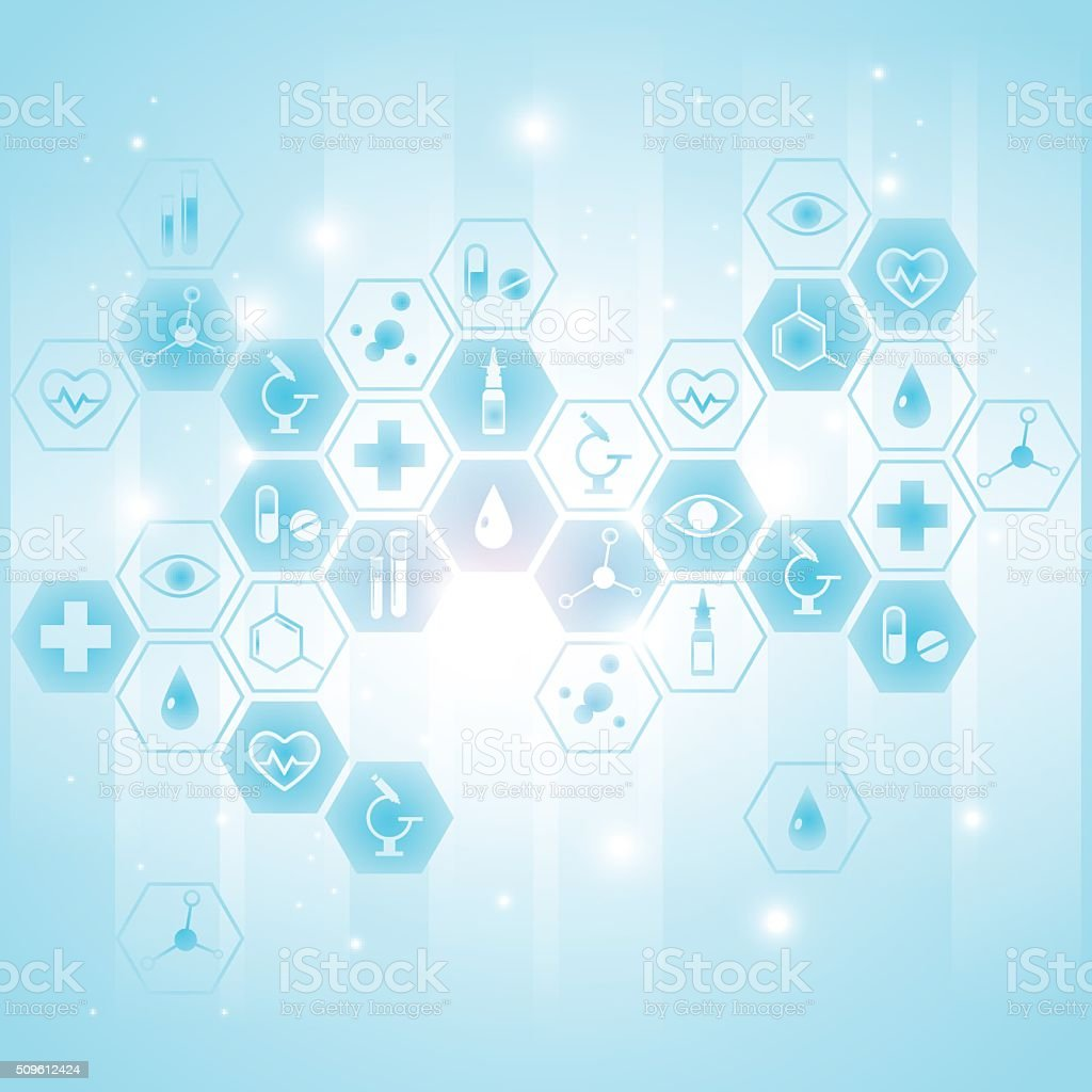 Medical background with icons vector art illustration