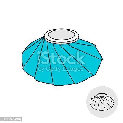 istock Medical bag filled with ice cubes. Cooling and freezing pack. First aid element. Adjustable stroke width. 1211590536