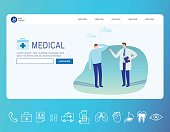 Medical banner. Healthcare infographic. Landing page concept. Web page 3d isometric.  business vector illustration concept. flat line icon and doctor patient cartoon character,