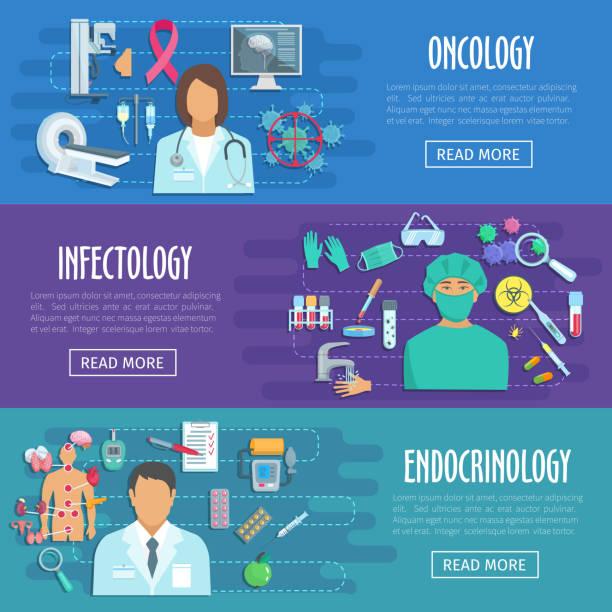 ilustraciones, imágenes clip art, dibujos animados e iconos de stock de conjunto médico banner de médico con los iconos de salud - oncología