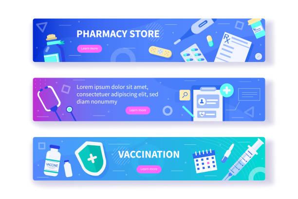 bildbanksillustrationer, clip art samt tecknat material och ikoner med medicinska banners - vaccine