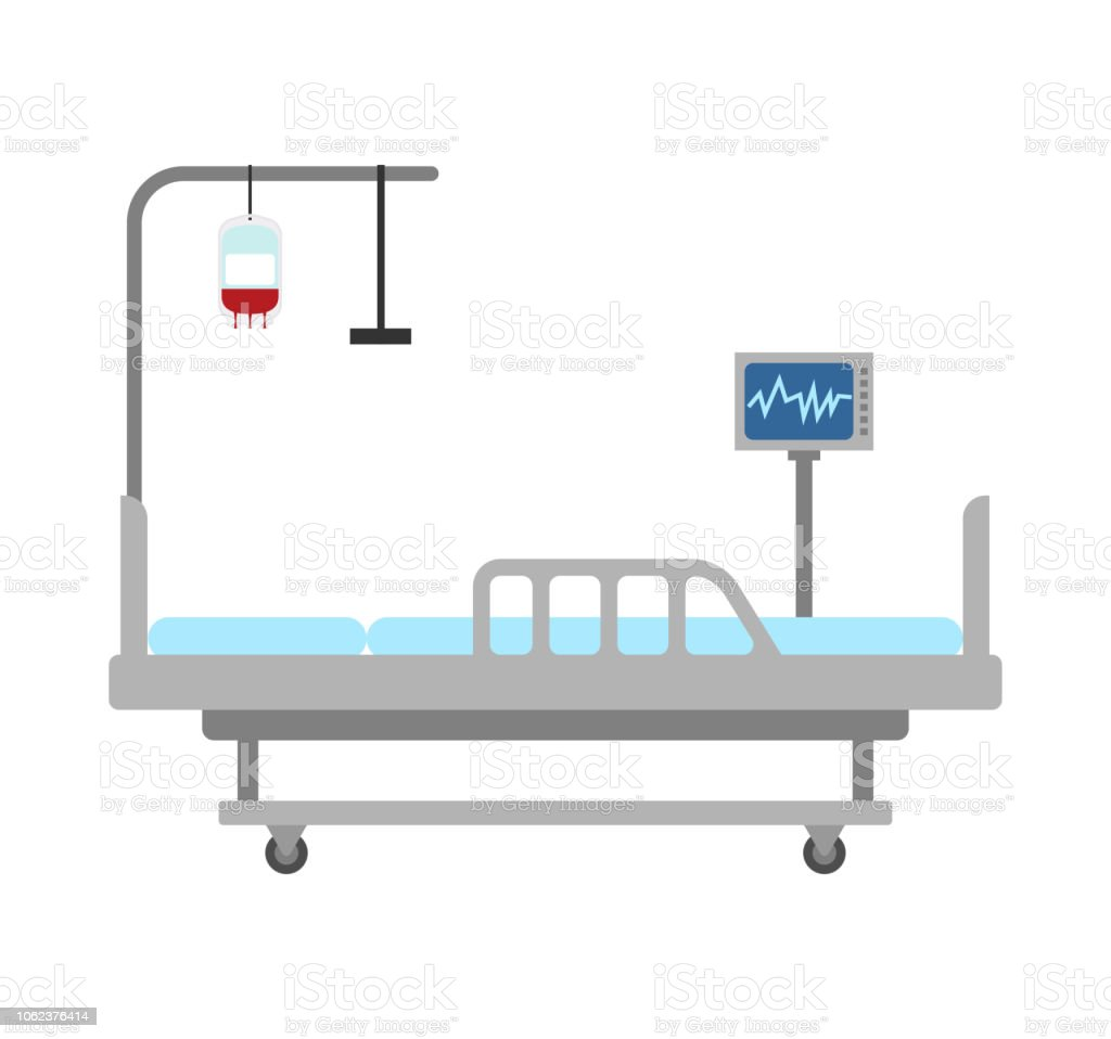 Medical bed isolated. hospital bed clinic. patient bedstead vector art illustration