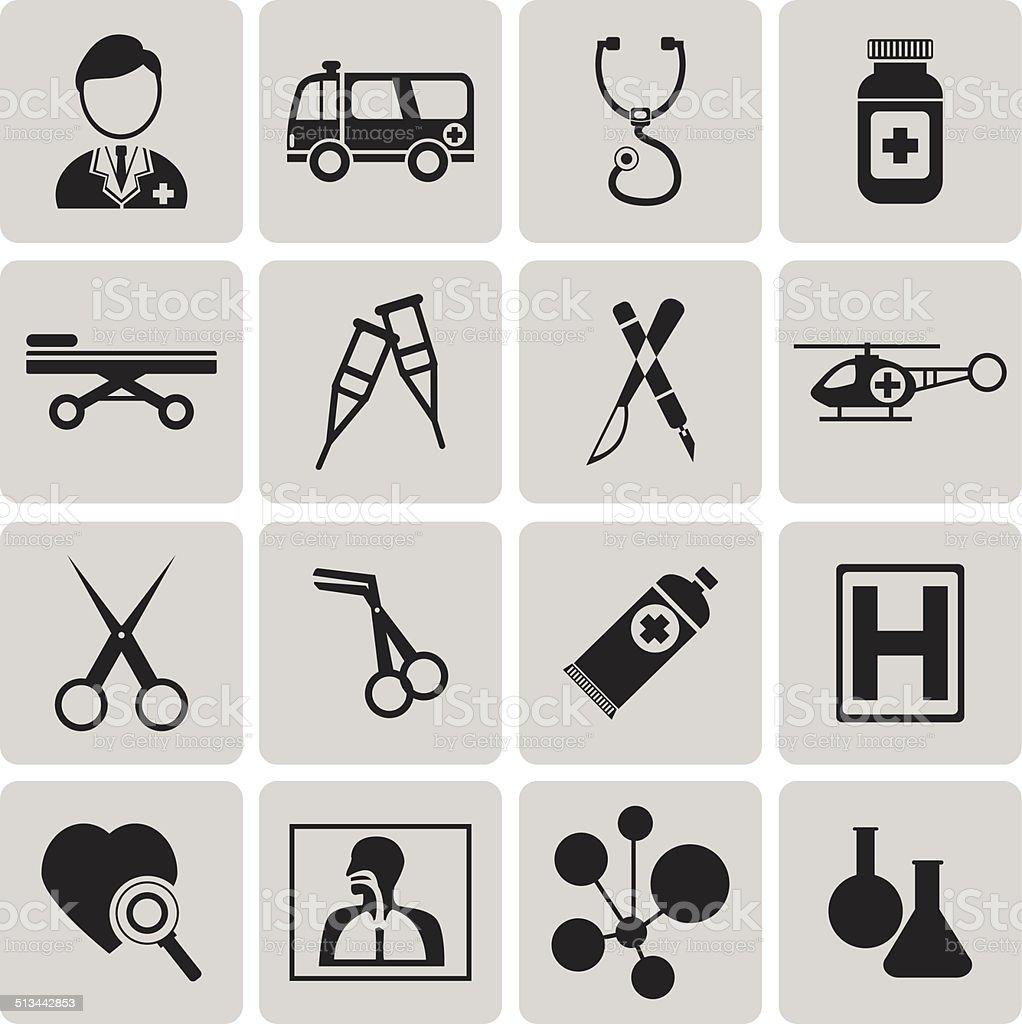 Medizinische Schwarze Symbole set2.  Vektor-Illustration eps10 – Vektorgrafik