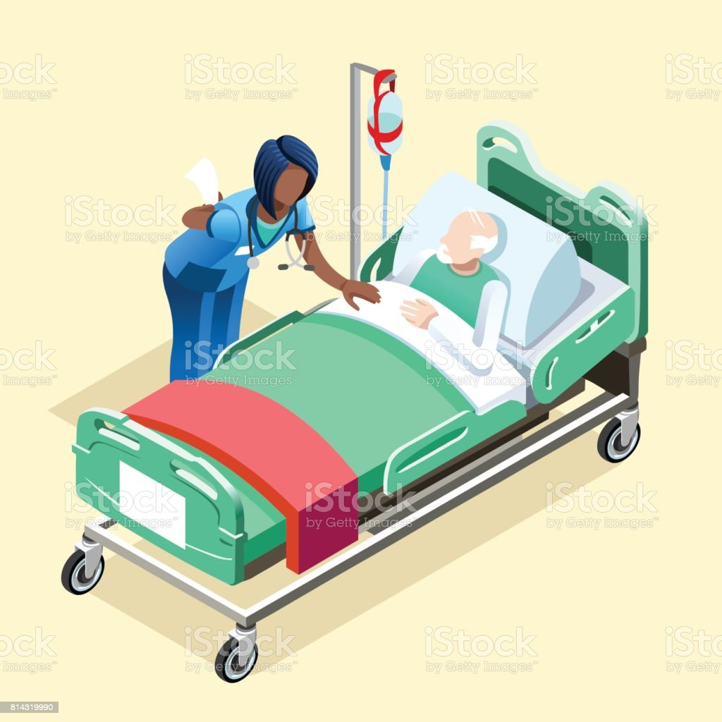 Medical Black Nurse Talking with Patient Vector Isometric People vector art illustration