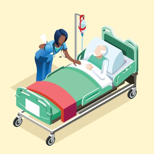 illustrations, cliparts, dessins animés et icônes de infirmière noire parler avec les gens isométrique patient vector - aide soignant
