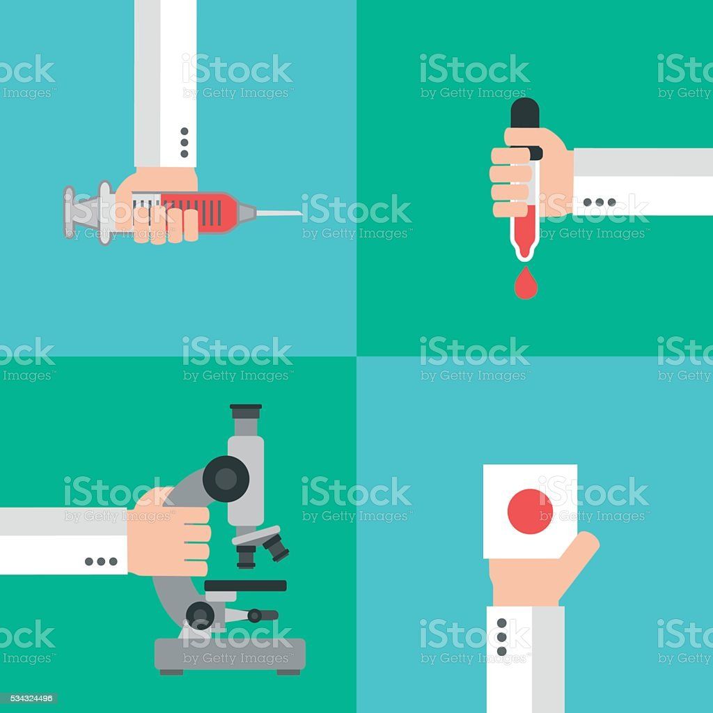 Medical blood analysis concept design flat vector art illustration