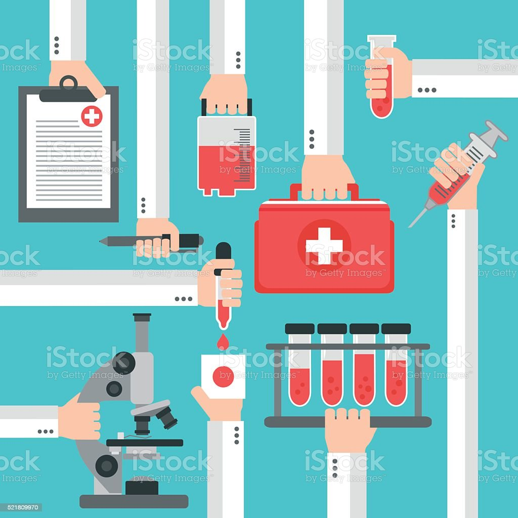 Medical blood analysis flat design vector art illustration