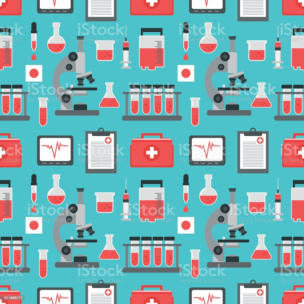 Medical blood analysis seamless flat design vector art illustration
