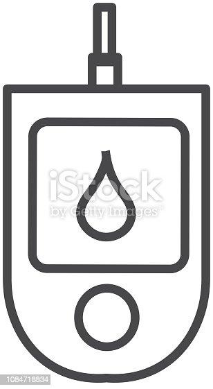 Vector illustration of a Medical Flat Design Icon. Medical blood glucose monitor