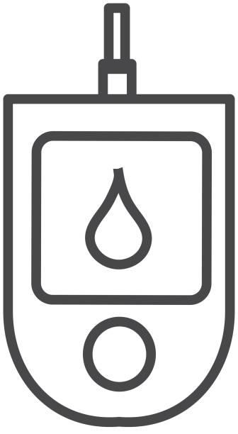 stockillustraties, clipart, cartoons en iconen met medische bloedglucose monitor flat design icon set - illustratie - bloedsuikertest
