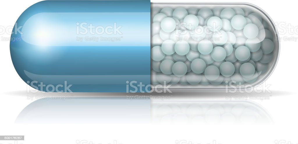 Medical blue capsule with granules vector art illustration