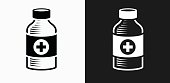 Medical Bottle Icon on Black and White Vector Backgrounds. This vector illustration includes two variations of the icon one in black on a light background on the left and another version in white on a dark background positioned on the right. The vector icon is simple yet elegant and can be used in a variety of ways including website or mobile application icon. This royalty free image is 100% vector based and all design elements can be scaled to any size.