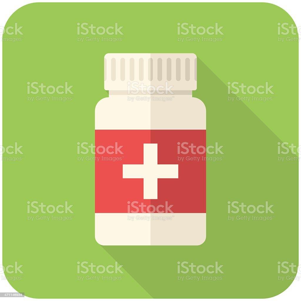 Medical bottle icon vector art illustration
