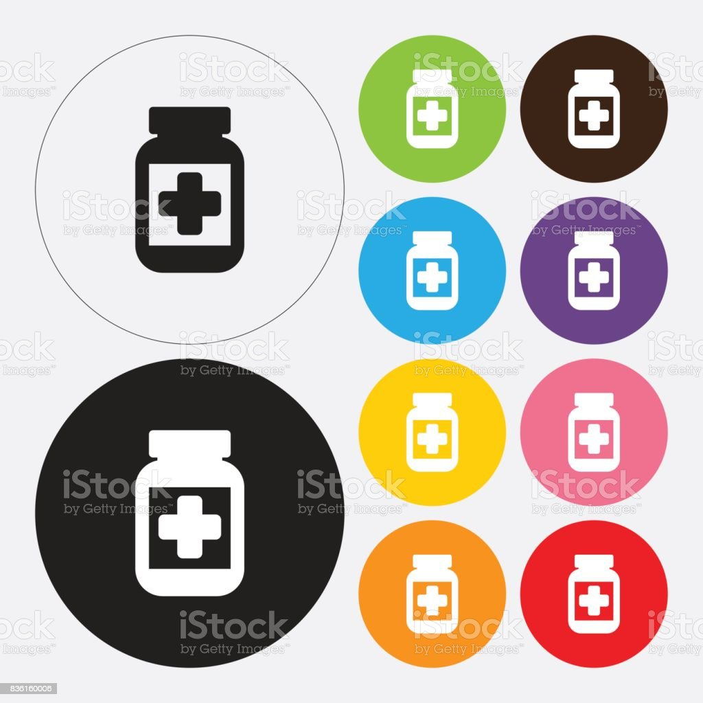 Medical bottle icon vector art illustration