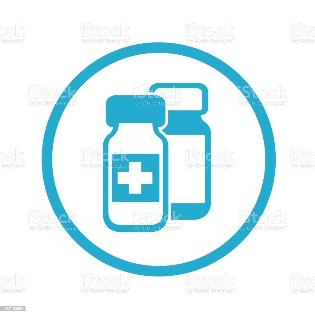 Medical bottles icon vector art illustration