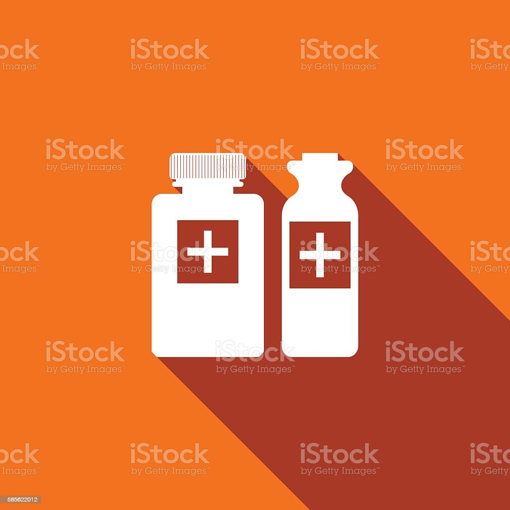 Medical bottles icon with long shadow. vector art illustration