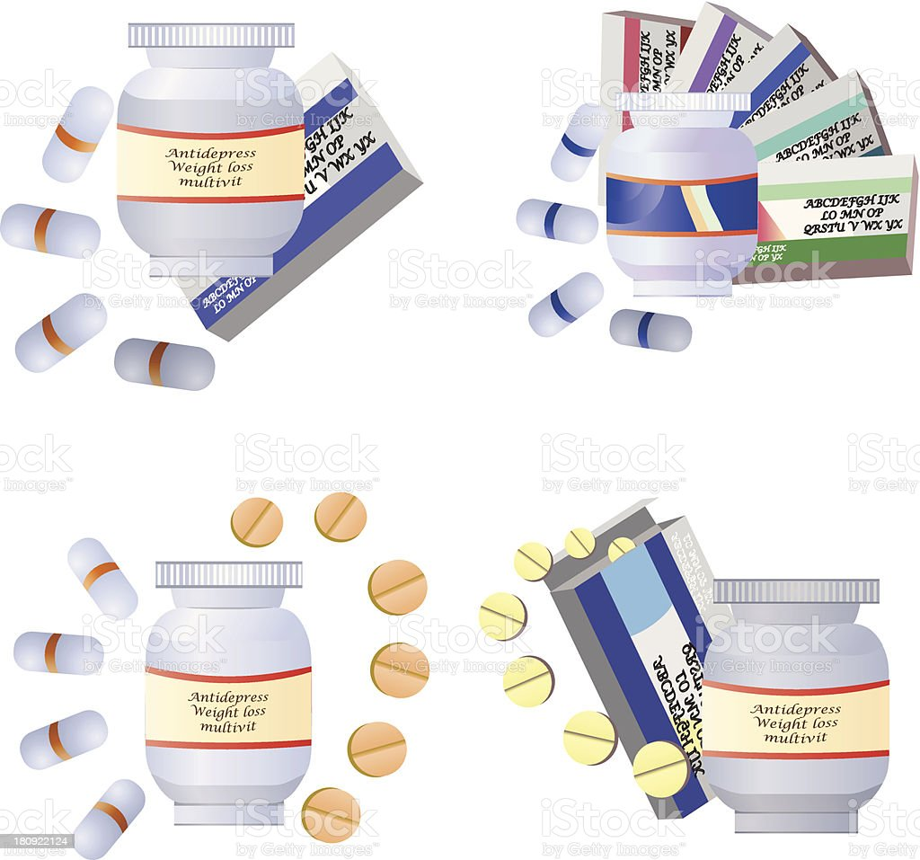 medical bottles, tubes and pills royalty-free stock vector art
