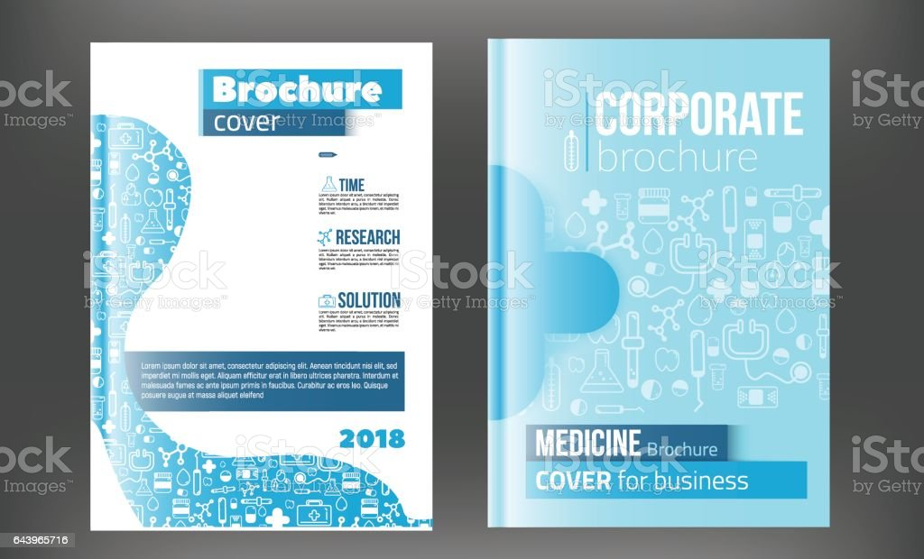 medical brochure design template flyer with inline medicine icons