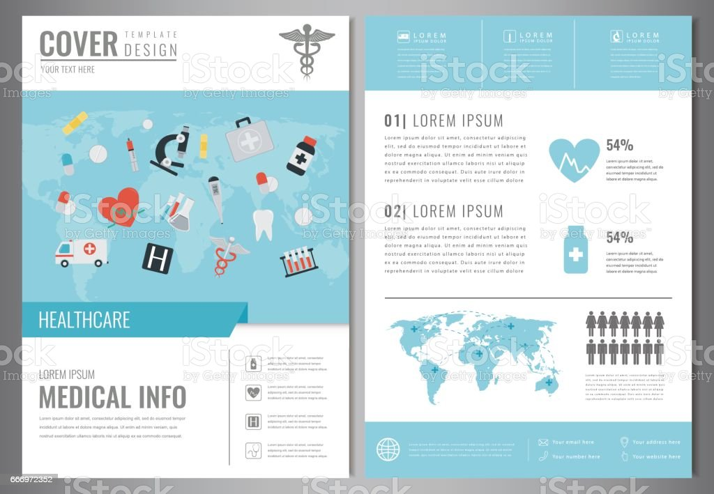 Medical Brochure Design Template. Healthcare and Medical concept. Flyer with medicine icons. Vector vector art illustration