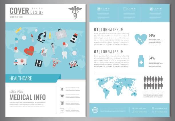 illustrations, cliparts, dessins animés et icônes de modèle de conception de brochure médicale. soins de santé et médicale concept. flyer avec des icônes de la médecine. vector - gériatrie