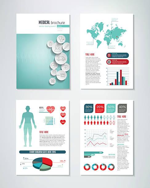 医療用パンフレットインフォグラフィック - 健康のインフォグラフィック点のイラスト素材/クリップアート素材/マンガ素材/アイコン素材