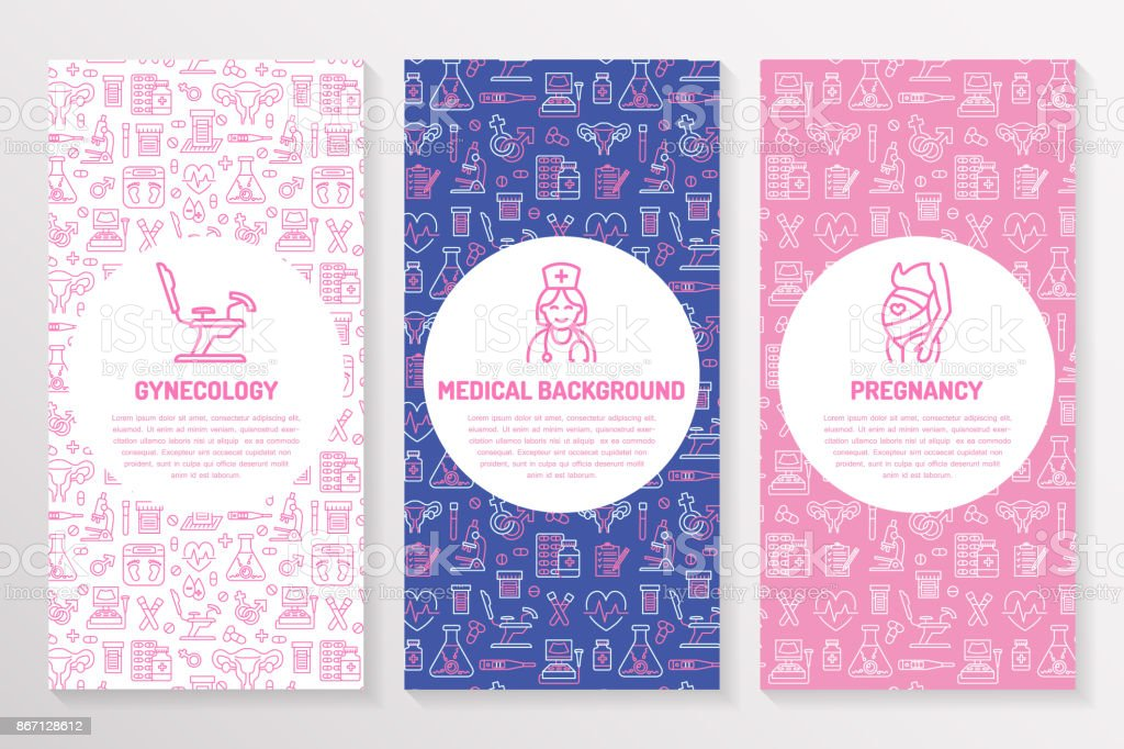Medical brochure template, gynecology flyer. Vector trifold pink purple background. Obstetrics, pregnancy elements thin line icons - doctor, research, in vitro fertilization. Cute medicine poster vector art illustration