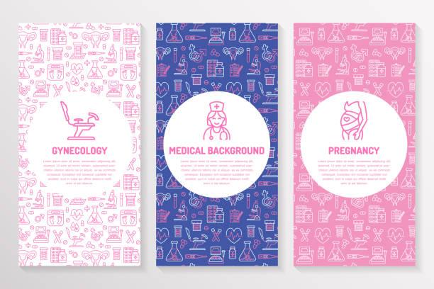 ilustraciones, imágenes clip art, dibujos animados e iconos de stock de plantilla folleto médico, aviador de ginecología. fondo púrpura del tríptico rosa vector. obstetricia, elementos de embarazo delgada los iconos de línea - médico, investigación, fertilización in vitro. cartel lindo de la medicina - planificación familiar