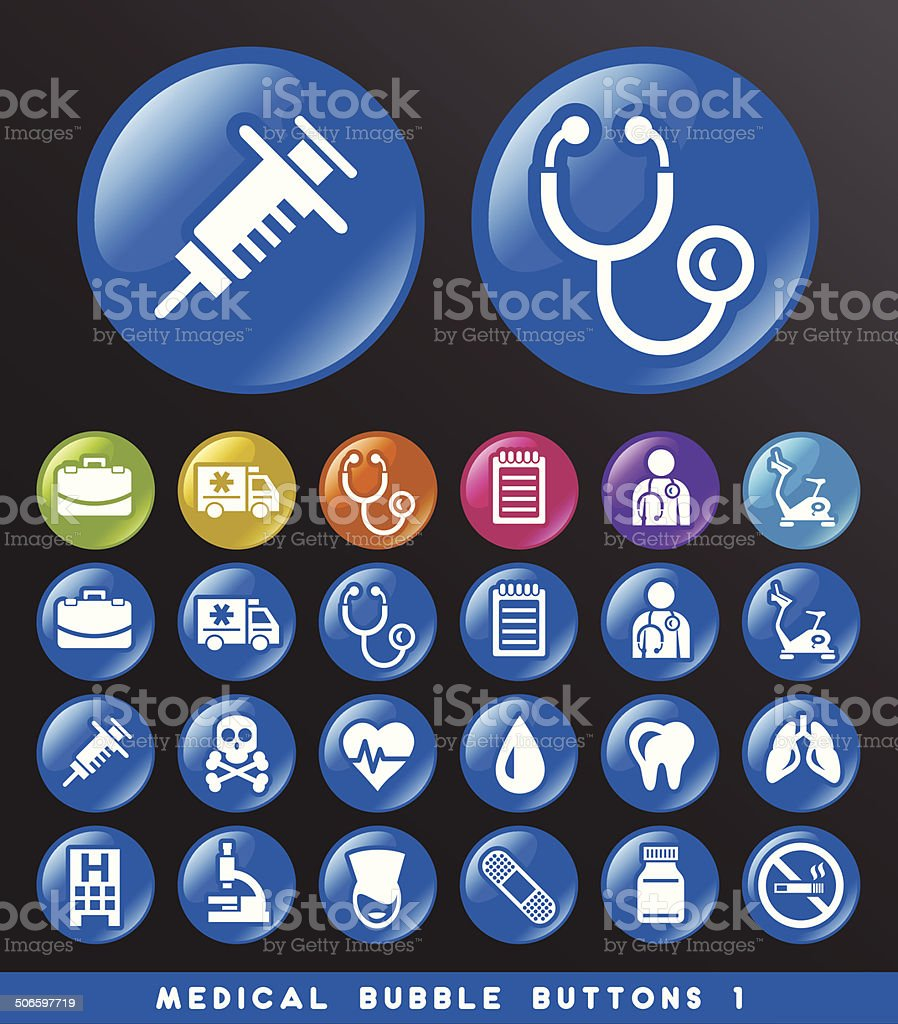 Medical Bubble Buttons. royalty-free stock vector art