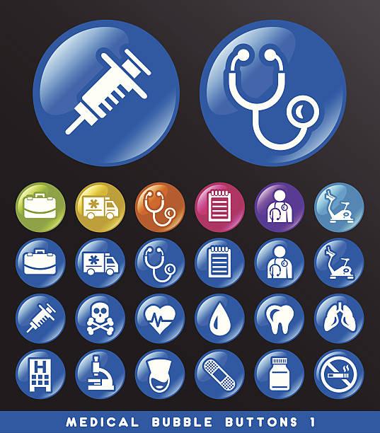 Medical Bubble Buttons. vector art illustration