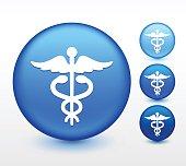 Medical Caduceus on Blue Round Button