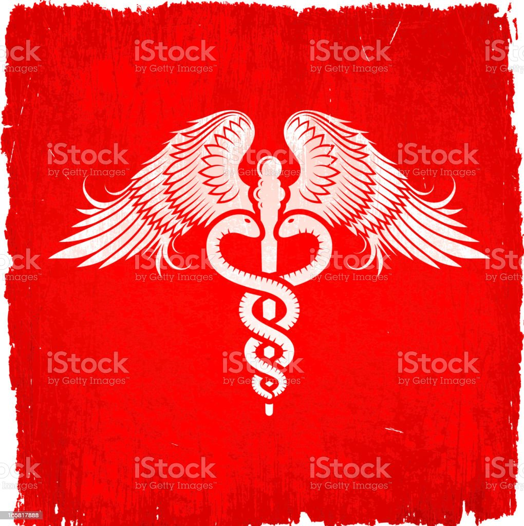 Medical Caduceus on royalty free vector Background royalty-free stock vector art