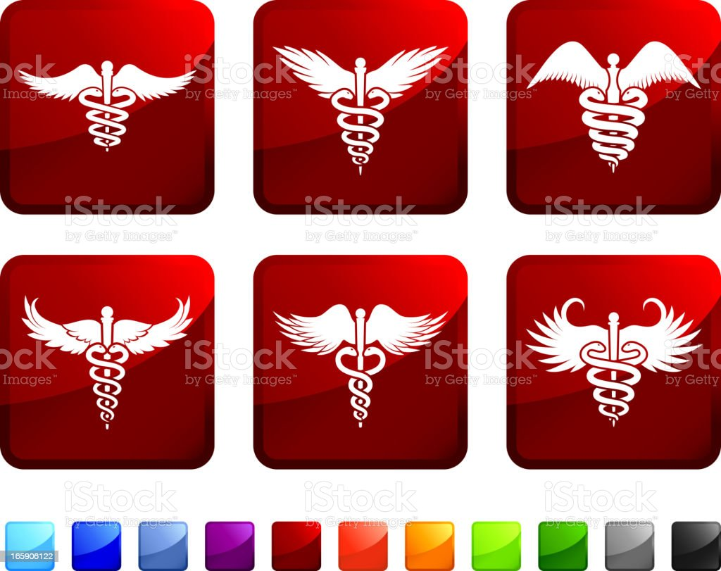 Medical Caduceus royalty free vector icon set stickers royalty-free stock vector art