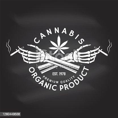 Medical cannabis badge, label with skeleton hand, smoking marijuana. Vector. Vintage typography symbol design with cannabis, skeleton hand silhouette For weed shop, cannabis, marijuana delivery service
