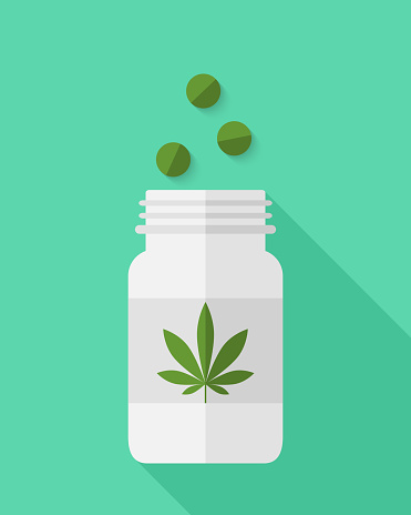 Medical cannabis concept in flat design