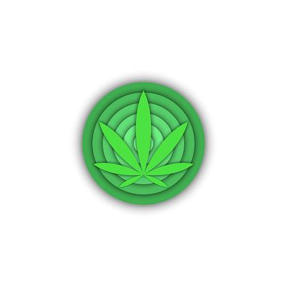 Medical cannabis logo, round shape, 3d cannabis leaf print t-shirt, green gradient.
