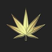 Medical Cannabis Logo With Marijuana Leaf Glowing Design Element, Illustration For Logo, Banner, Poster, Business Sign, Identity, Branding