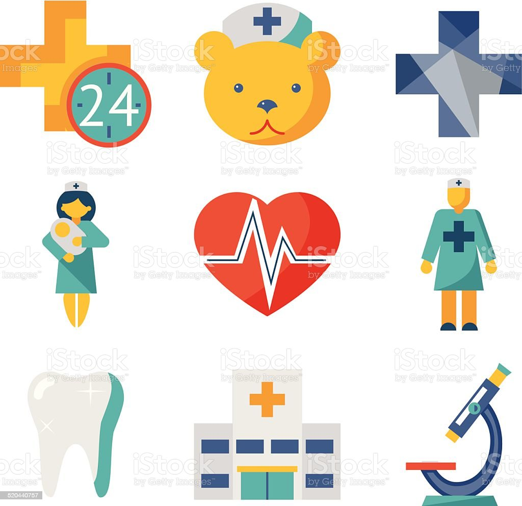 Medical care and health isolated modern trendy flat icons set vector art illustration
